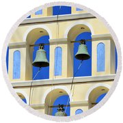 Santorini Bell Tower 2 Round Beach Towel
