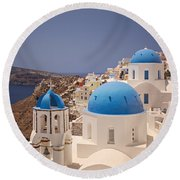 Santorini Blue Domes Round Beach Towel