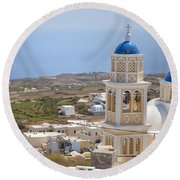 Santorini Church Overlooking The Sea Round Beach Towel
