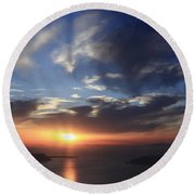 Santorini Sunset Cyclades Greece  Round Beach Towel