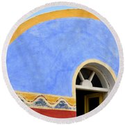 Santorini Window Round Beach Towel