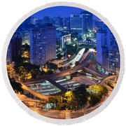 Sao Paulo Skyline - Downtown Round Beach Towel