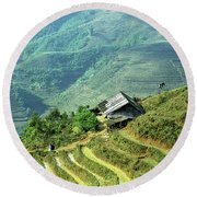 Sapa Rice Fields Round Beach Towel