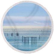 Sapphire Horizon I Round Beach Towel