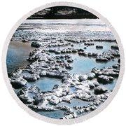 Sapphire Pool Yellowstone National Park Round Beach Towel