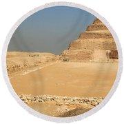 Saqqara Step Pyramid Round Beach Towel