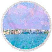 Sarasota Via Ringling Bridge Round Beach Towel