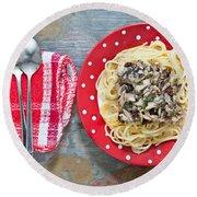 Sardines And Spaghetti Round Beach Towel