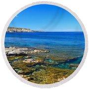 Sardinia - Shore In San Pietro Island Round Beach Towel