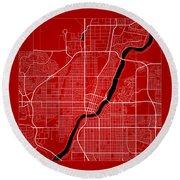 Saskatoon Street Map - Saskatoon Canada Road Map Art On Color Round Beach Towel