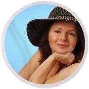 Sassy Lady In Hat Round Beach Towel
