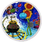 Satelite Critters Round Beach Towel