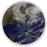 Satellite View Of A Noreaster Storm Round Beach Towel
