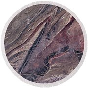 Satellite View Of Big Horn, Wyoming, Usa Round Beach Towel