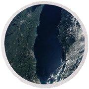 Satellite View Of Lake Michigan Round Beach Towel