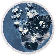 Satellite View Of Montserrat Island Round Beach Towel