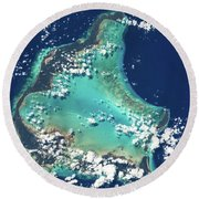 Satellite View Of Turks And Caicos Round Beach Towel