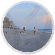 Saturday Morning Surfer Round Beach Towel