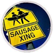 Sausage Crossing Round Beach Towel