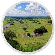 Savanna Landscape In Serengeti Round Beach Towel