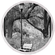 Savannah Afternoon - Black And White Round Beach Towel