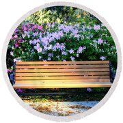 Savannah Bench Round Beach Towel by Carol Groenen