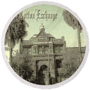 Old Savannah Cotton Exchange Round Beach Towel