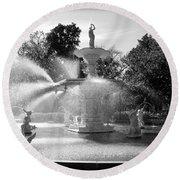 Savannah Fountain - Black And White Round Beach Towel