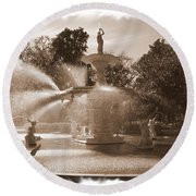 Savannah Fountain In Sepia Round Beach Towel