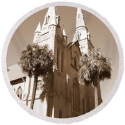 Savannah Sepia - Methodist Church Round Beach Towel