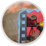 Save Cinema In Morocco Round Beach Towel