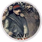 Save Serbia Our Ally Round Beach Towel by Theophile Alexandre Steinlen