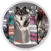 Save The Wolves Round Beach Towel