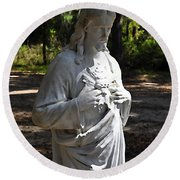 Savior Statue Round Beach Towel by Al Powell Photography USA
