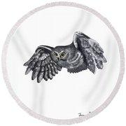 Saw-whet Owl Round Beach Towel