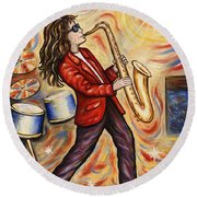 Sax Man Round Beach Towel