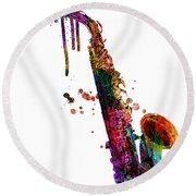 Saxophone 2 Round Beach Towel