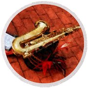 Saxophone Before The Parade Round Beach Towel