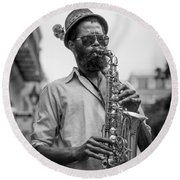Saxophone Musician New Orleans Round Beach Towel