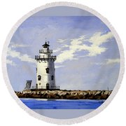 Saybrook Breakwater Lighthouse Old Saybrook Connecticut Round Beach Towel
