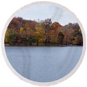 Scales Lake In Autumn Round Beach Towel by Sandy Keeton