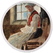 Scandinavian Peasant Woman In An Interior Round Beach Towel by Alexandre Lunois