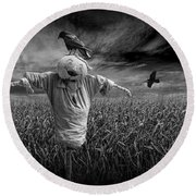 Scarecrow And Black Crows Over A Cornfield Round Beach Towel
