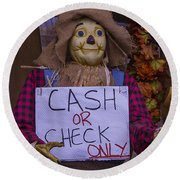 Scarecrow Holding Sign Round Beach Towel