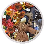 Scarecrow In A Chair Round Beach Towel