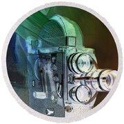 Scarf Camera In Negative Round Beach Towel