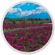 Scarlet Flame Round Beach Towel