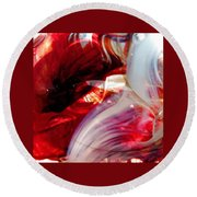 Scarlet Swirls Abstract Round Beach Towel