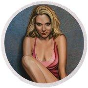 Scarlett Johansson Round Beach Towel