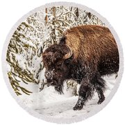 Scary Bison Round Beach Towel
